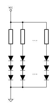 Series of diodes in parallel, one resistor per 3 diodes