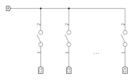 Multiple switches, one input (node A)