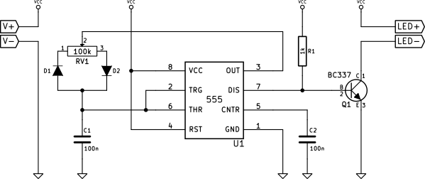 555 based PWM LED dimmer
